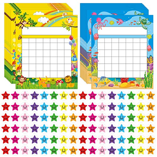 Pack of 66 Incentive Chart with 2080 Reward Star Stickers for Kids Students Classroom Behavior, Animal & Marine Theme