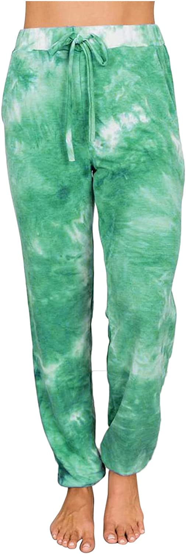 Women Sweatpants Tie Dye Print Long Pants Elastic Waist Casual Loose Pants Sport Running Yoga Jogger Pant
