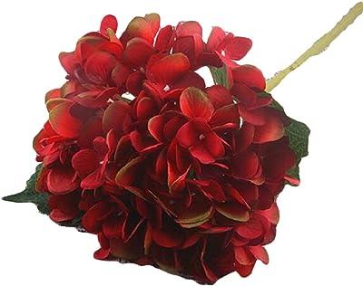 FLCH+YIGE Artificial Silk Hydrangea Flower with Bouquet Home Wedding Garden Floral Decor 2 Bundles 3 OS