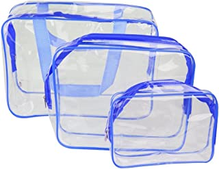 Frcolor 3-in-1 PVC Transparent Cosmetic Tote Bag Toiletry Organizer Handbags (Blue)