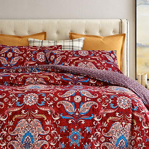 DuShow Red Double Duvet Cover Microfiber Boho Duvet Cover Set With Zipper Closure, Ultra Soft Hypoallergenic 3 Pieces Bedding Set 1 Duvet Cover And 2 Pillowcases Double 200x200cm