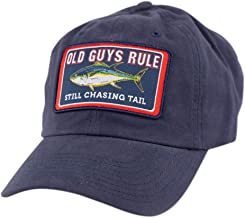 OLD GUYS RULE Dad Hat, Baseball Cap for Men| Fishing – Still Chasing Tail for Husband, Grandfather | Navy Blue