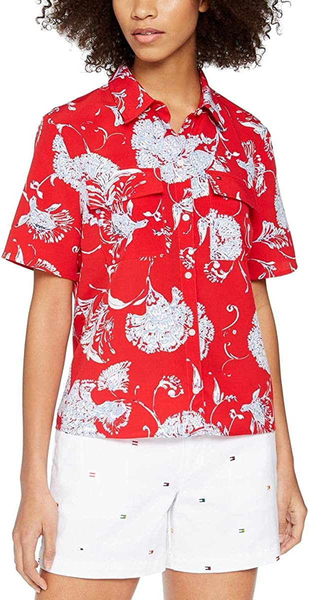 Tommy Hilfiger Womens Collared Button-Down Box Top Red