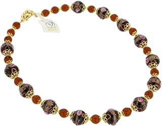 Murano Glass Necklace Venezia - Golden Brown