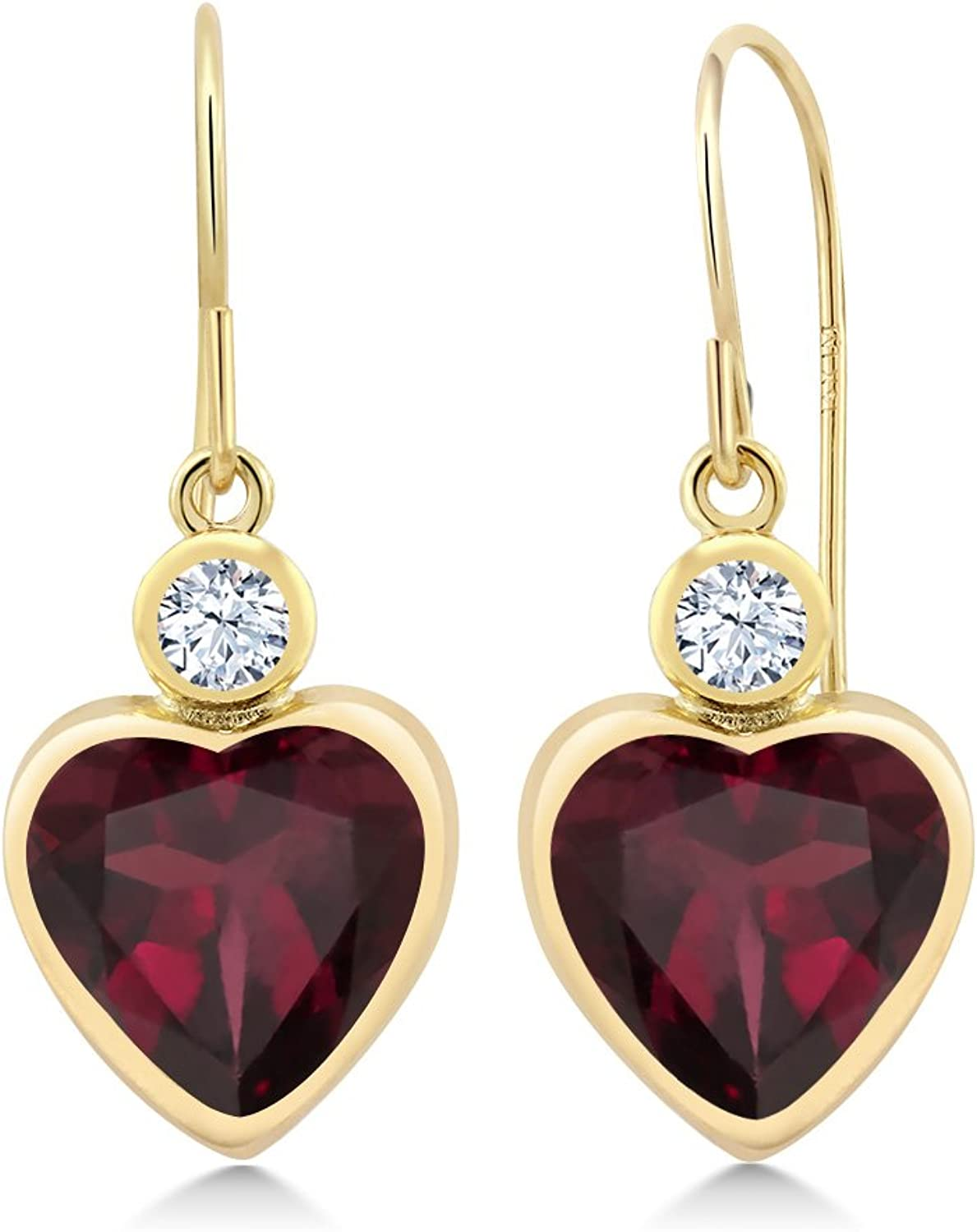 4.22 Ct Heart Shape Red Rhodolite Garnet 14K Yellow gold Earrings