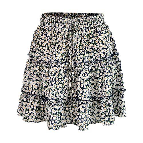 N\P Faldas cortas de verano de las mujeres de cintura alta con volantes falda floral impresa