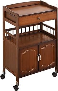 Jiaodie Support de chariot mobile avec placard, en bois massif, table basse, meuble de rangement d'imprimante, café, canap...