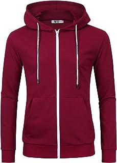 913b3011ca Kuulee Men's Casual Fit Long Sleeve Lightweight Zip Up Pullover Hoodie  Sweatshirt with Kanga Pocket