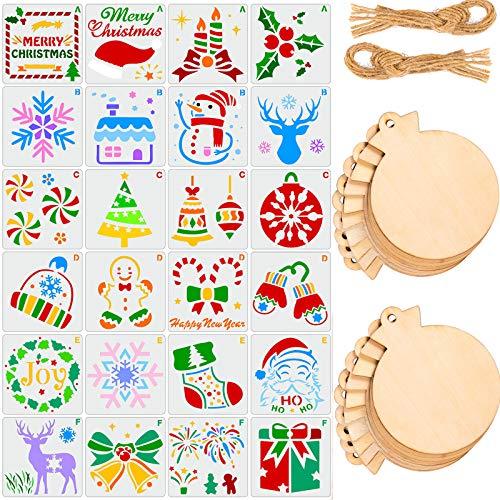 24 stencil per pittura natalizia con 20 targhette natalizie in legno con corda, fette di legno di Natale, modelli in plastica riutilizzabili per fai da te fai da te per finestre e pavimenti