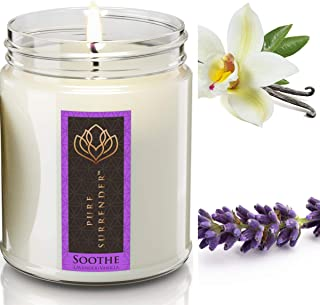 Soothing Lavender + Vanilla Aromatherapy Soy Candles | 100% Pure Essential Oils | Therapeutic Grade | Relaxation Gifts | H...
