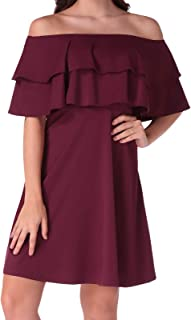 Women's Elegant Off The Shoulder Flare Skater Dress with Double Ruffle Cocktail Party