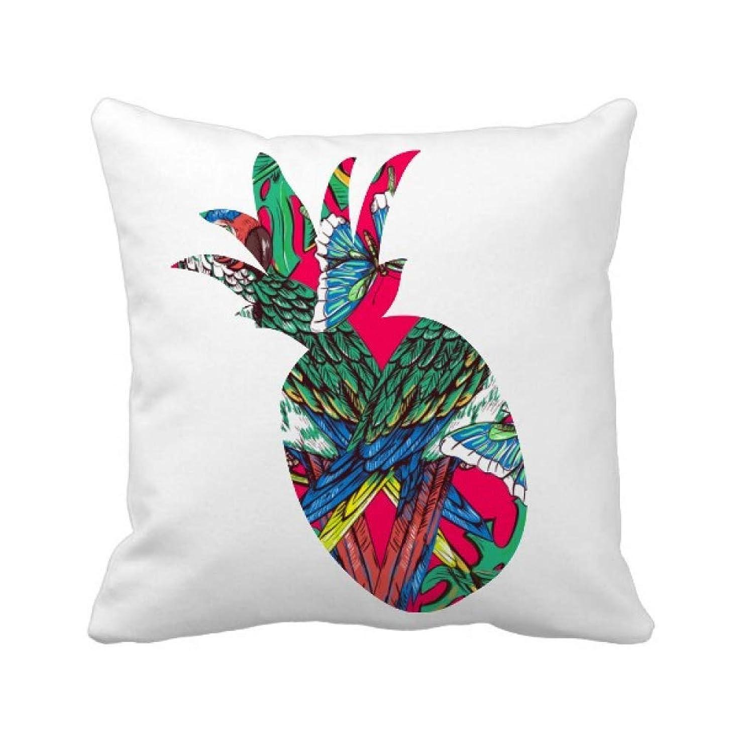 聖人イソギンチャク霊花は葉のピンクの空の幸せな鳥 パイナップル枕カバー正方形を投げる 50cm x 50cm