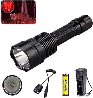 Bestsun Zaklamp voor jacht, jacht, led-zaklamp met rood licht Coyote Hog 350 lumen lange afstanden, jachtlamp met drukscha...