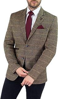 Cavani Mens New Tweed Herringbone Slim Fit Blazer Brown Check