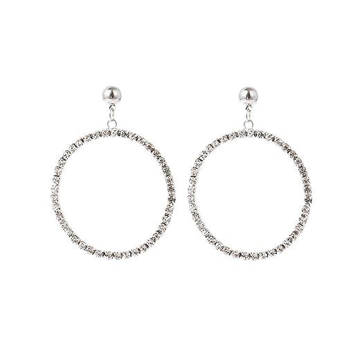 98c984d62 Women Big Round Circle Earrings Shining Zircon Crystal Round Hoop Dangle  Drop Pierced Stud Earrings