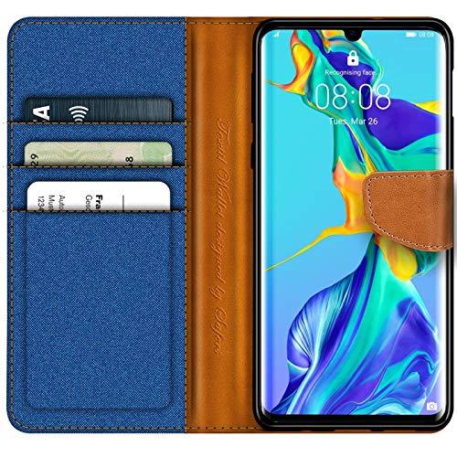 Conie Huawei P30 Pro Hülle für P30 Pro Tasche, Textil Denim Jeans Look Booklet Cover Handytasche Klapphülle Etui mit Kartenfächer, Blau