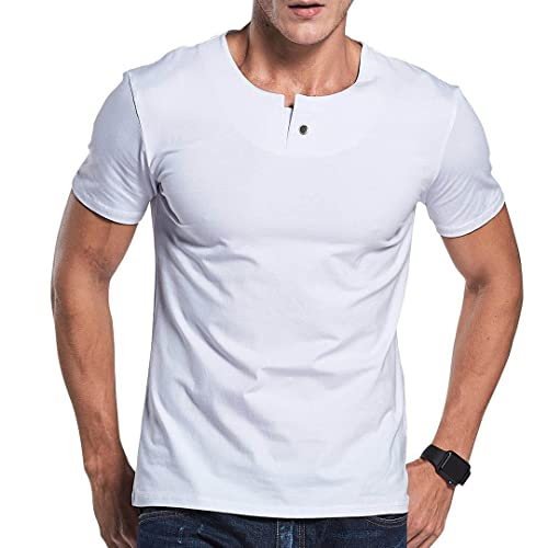 abd2574807d LTIFONE Mens Casual Slim fit Short Sleeve T-Shirt Single Button Placket  Plain Henley v