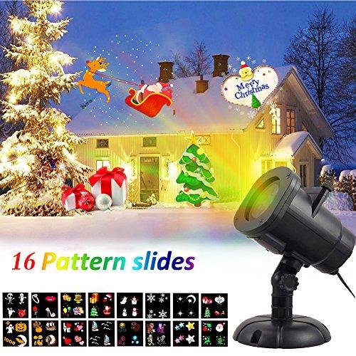Proiettore Luci LED Natale DYDYLU con 16 Multicolori Sostituibili Lenti Impermeabile e Rotante Lampada Natale Proiettore Luci