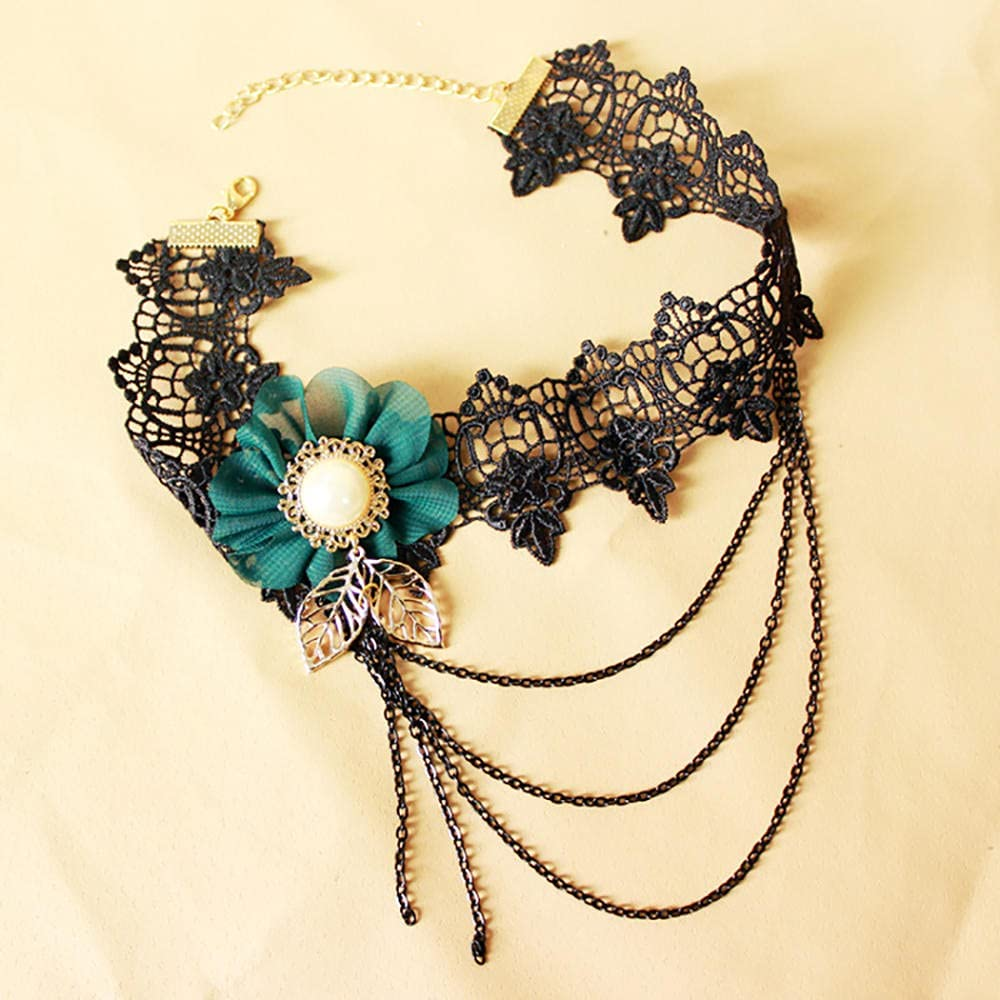 Choker Gothic Sexy Collares Night Club Gothic Colliers Black Lace Neck Collar Necklace Vintage Women Collar Steampunk Jewelry