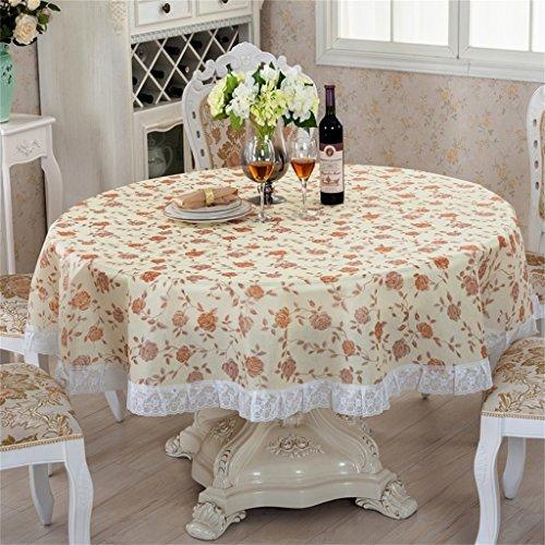 Nappe Dentelle Pvc Table à manger Table ronde Nappe Tissu Imperméable à l'huile Non-propre Table Tissu Plateau en plastique nappe (Couleur : # 4)