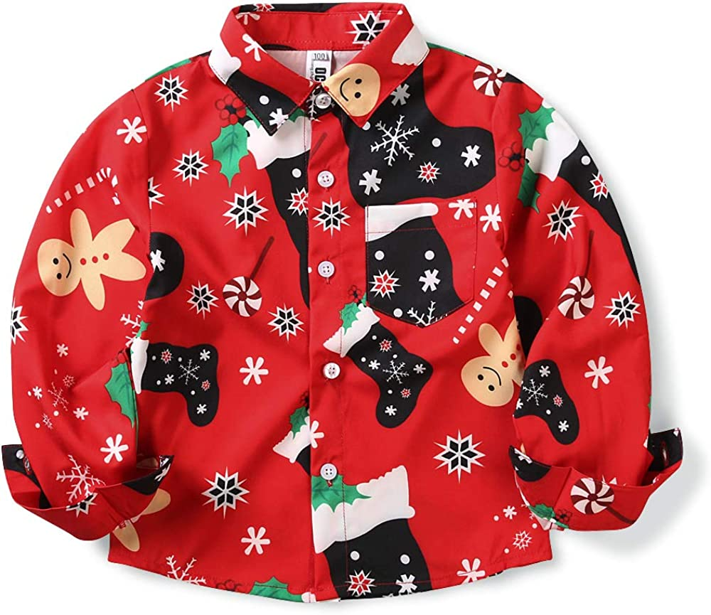 Phorecys Boys' Girls' Christmas Shirt Long Sleeve Button Down Shirts Pattern Blouse Tops