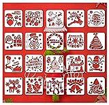 Lot de 20 pochoirs de Noël de 12,7 x 13,9 cm pour loisirs créatifs, scrapbooking, dessin, impression, pochoirs de Noël, utilisation sur les biscuits, murs, verre, tissus, bois, cartes, etc.