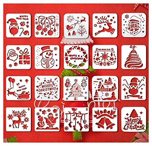Plantillas de Navidad 20 piezas de plantillas de decoración de bricolaje para manualidades, tarjetas de dibujo de...