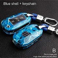 大理石 ABS キーケースシトロエン C4 グランド Xsara C5 エリゼ C-Quartre C3 XR Berlingo サボテンプジョー 3008 2008 308 307 508 301 408-B-Blue