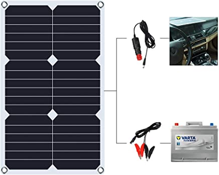 SUNKINGDOM 12 Volt 12v Solar Battery Charger, 18W Solar Battery Tender, Solar Car Battery Charger, Solar Trickle Charger, Solar Panel Battery Maintainer for Automotive, Motorcycle, Boat, Marine, RV