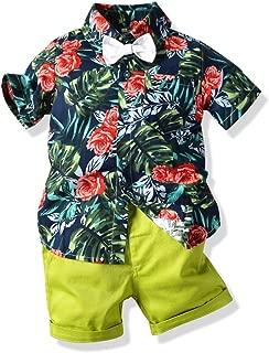JooNeng Toddler Baby Boy Shorts Sets Hawaiian Outfit,Infant Kid Leave Floral Short Sleeve Shirt Top+Shorts Suits
