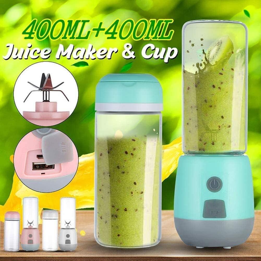 ZSR-haohai Mini Exprimidor eléctrico, Carga por USB, Diseño portátil de Mano, Usado for Hacer Batidos, Batidos, zumos de Frutas y Vegetales (Color : Pink) Blue