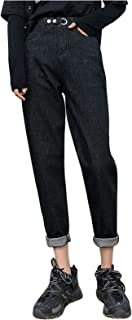 HINK Pantalones de Mujer, Moda Mujer Talla Grande más Terciopelo elástico Cintura Alta Pantalones Vaqueros Casuales Pantal...