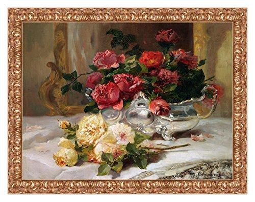 Lux Quadro Stampa su Tela Eugene Henri Cauchois Roses on a Dressing Table con Cornice in Legno Oro Classico Misura 53x43 CM
