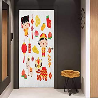 Onefzc Photo Wall Decal Chinese New Year Joyful Holiday Themed Pattern with Children Animals and Cultural Elements for Home Decor W32 x H80 Multicolor