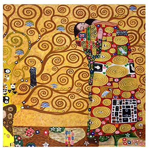 feitao Gustav Klimt Die Erfüllung Reproduktion Ölgemälde Auf Leinwand Poster Und Drucke Wandbild Für Wohnzimmer -24X24 Zoll Ohne Rahmen