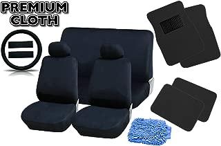 Unique Imports Premium Black Universal Car Truck Seat Covers Full Set Plush 4pc Black Floor Mat Set Bonus Steering Wheel & Shoulder Pads + Free Detailing WASHMITT - 18pcs