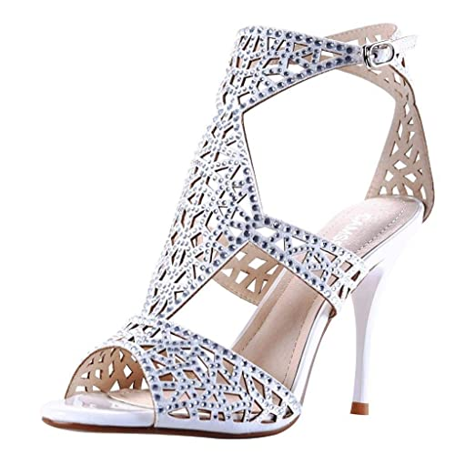 a11e6fd0d6b Women s Sparkle Crystal Cutouts Stiletto Ankle Strap High Heels Party Dress  Sandals Silver Velveteen Size US6