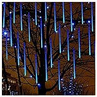 LED流星群レインライト、8チューブ屋外防水落ちる雨滴つらら文字列ライト144灯ホリデーパーティーの結婚式の装飾、11.8インチ/チューブ,ブルー
