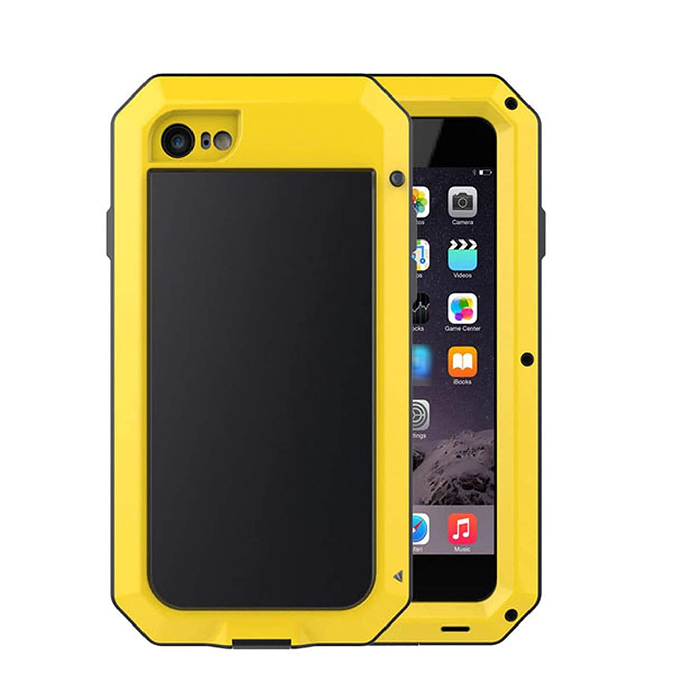 Luxury Shockproof Waterproof Metal Aluminum Phone Cases for iPhone X 8 7 6 6s Plus 5s SE Case Cover Screen Glass Film,Yellow,for iPhone Xs