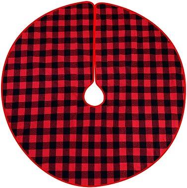 ASR Tapis de sapin de Noël rouge et noir à carreaux 98 cm