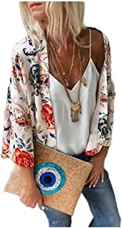 neveraway Women's Kimono Floral Print 3/4 Sleeve Open Front Cover up Cardigan
