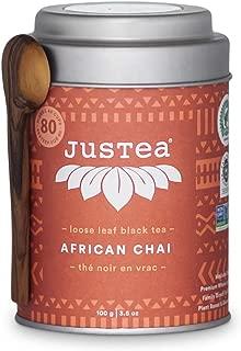 JusTea African Chai | Loose Leaf Black Tea with Hand Carved Tea Spoon | Over 40 cups 4.1 Ounce Tin | High Caffeine | Award-Winning | Organic | Fair Trade | Non-GMO