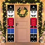 HMASYO Christmas Nutcracker Banner - Nutcracker Christmas Decorations Welcome Sign for Porch Front Door Fireplace Garden Indoor Outdoor Home Holiday Party Decor, 600D Oxford Fabric (Nutcracker-B)
