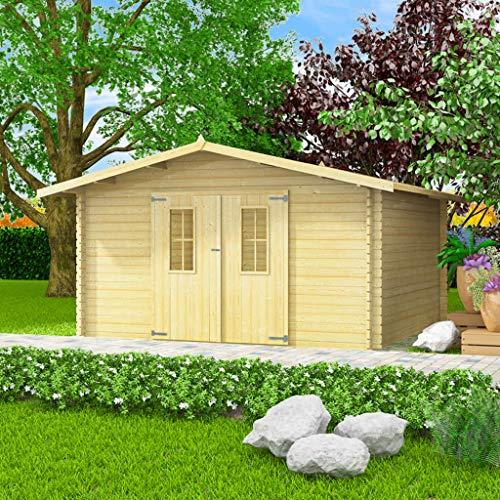 Tidyard 34 mm 4 x 4 m Gartenhaus groß Blockhaus Massivholz