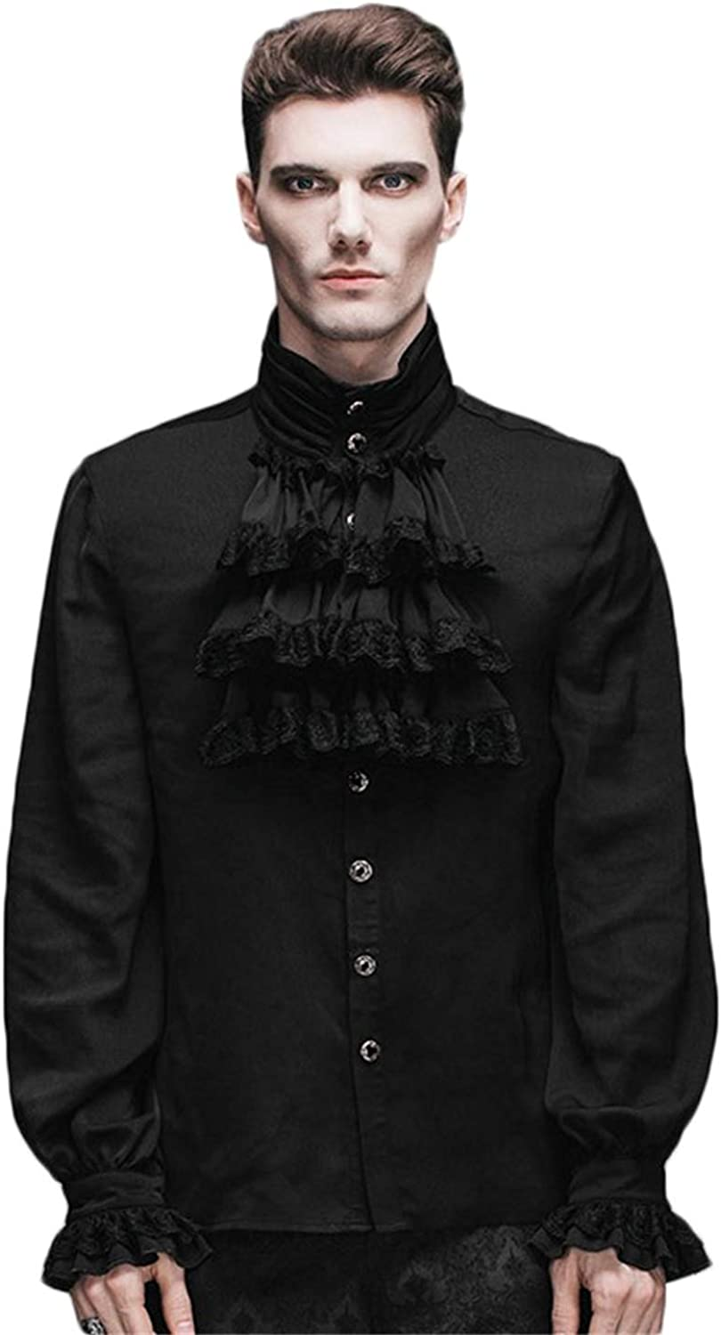 Devil Fashion Gothic Flounce Stand Collar Blouse Long Sleeve Mens Formal Top Shirt