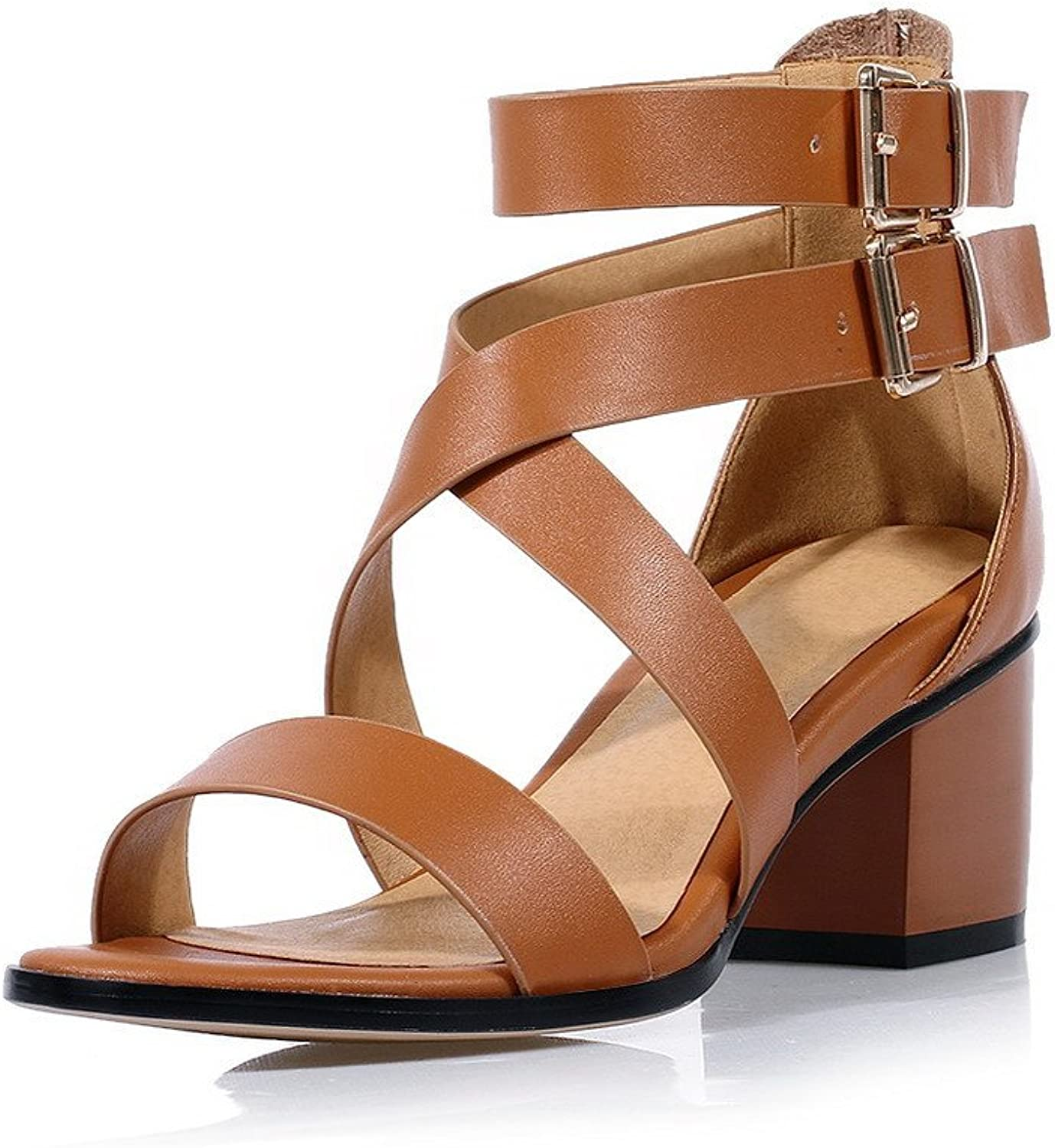 AmoonyFashion Women's Solid Soft Leather High Heels Buckle Sandals