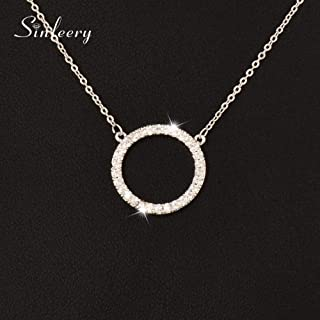 JENNIE SHOP New Simply Micro Paved Crystal Round Circle Pendant Necklace for Women Jewelry(Silver)