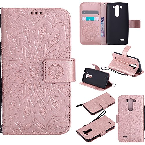 NEXCURIO [Embossed Flower] LG G3 Vigor / G3 S / G3 Beat Wallet Case with Card Holder Folding Kickstand Leather Case Flip Cover for LG G3 Vigor / G3 S / G3 Beat (Rose Gold)