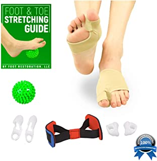 Bunion Corrector Kit: Orthopedic 8-Piece Toe Spacer   Realignment for Hallux Valgus & Hammer Toe   Bonus Foot & Toe Stretching Guide