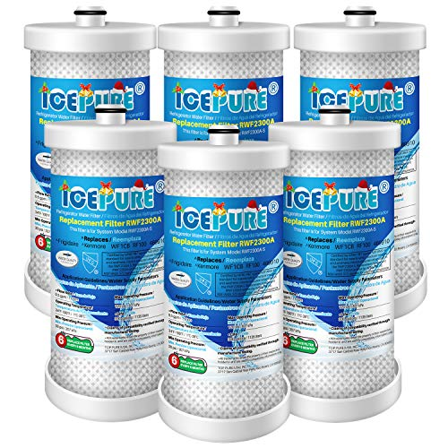 ICEPURE WF1CB Refrigerator water filter Replacement For Frigidaire PureSource WF1CB,WFCB, RG100, NGRG2000, WF284, Kenmore 9910, 469906, 469910,6 PACK